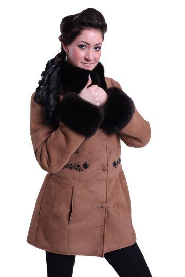 Antónia irhakabát fekete kézi hímzéssel - 02